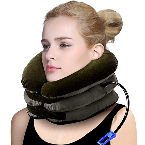 P PURNEAT Cervical Neck Traction Device Inflatable & Adjustable Neck Stretcher Collar for Home Traction Spine Alignment 【2018 Upgraded Version】 Pillow Office (1pack,Brown)