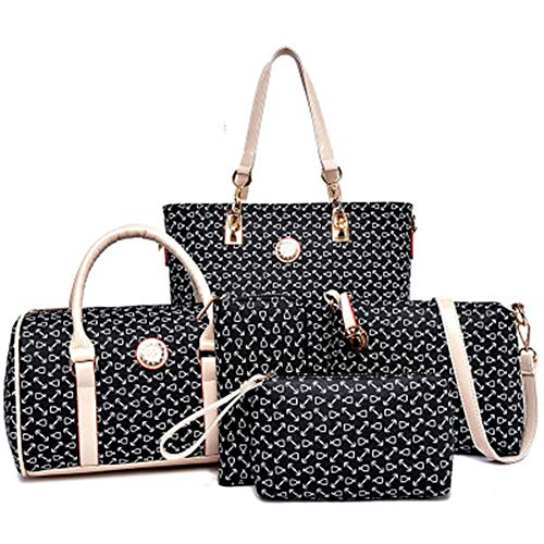 Women Handbag Set 6 Pcs PU Leather Tote Purse Set Multi-purpose Classic Shoulder Bag (Black)
