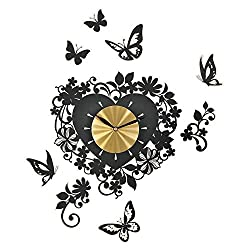 Butterfly And Heart Shaped Wall Clock Decals, Black