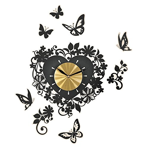 Butterfly And Heart Shaped Wall Clock Decals, Black heart shaped wall art home decor