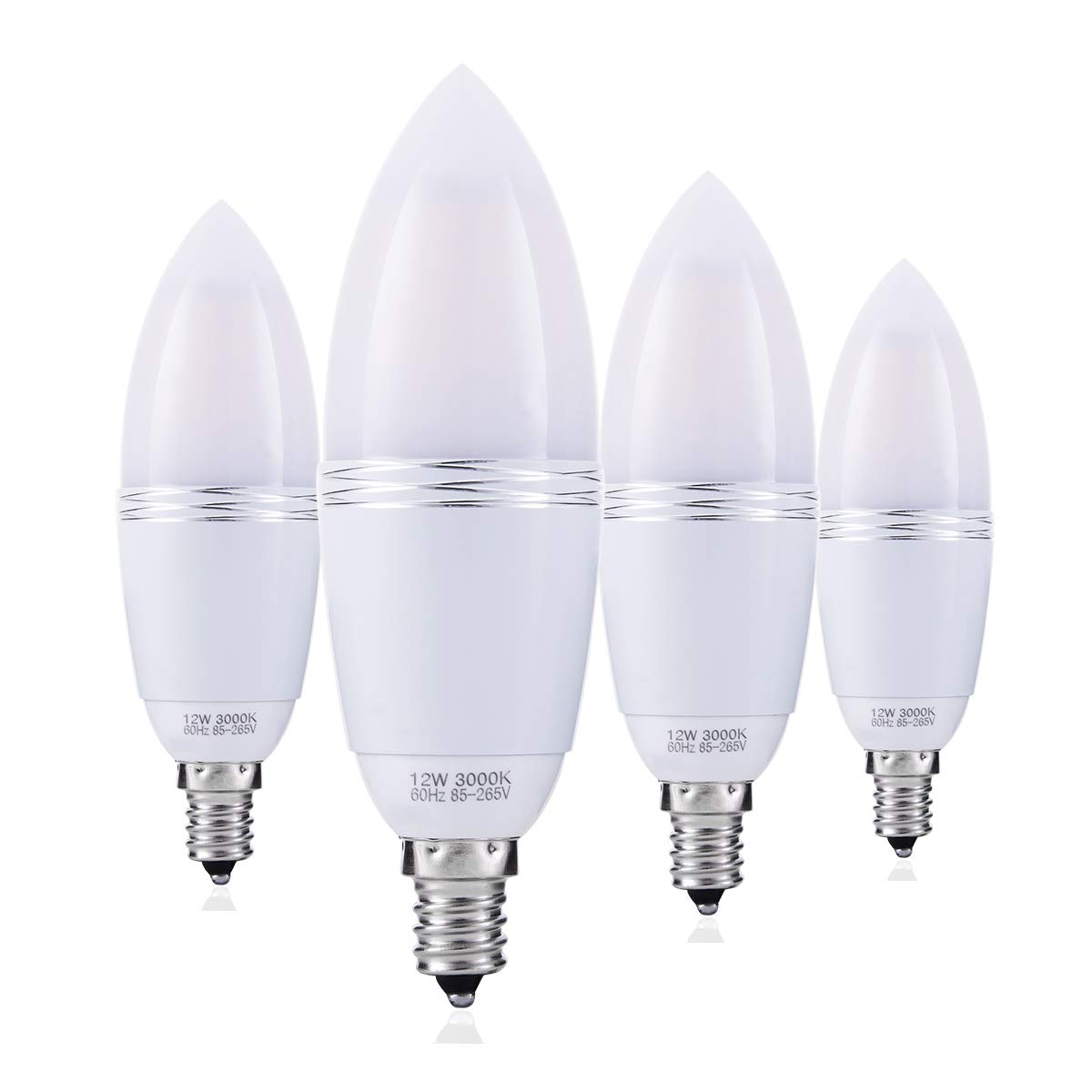 YRLighting Electrophoretic E12 LED Bulbs, 12W LED Candelabra Bulb 100 Watt Equivalent, 1200lm, Decorative Candle Base E12 Non-Dimmable LED Chandelier Bulbs, Warm White 3000k LED Lamp, Pack of 4