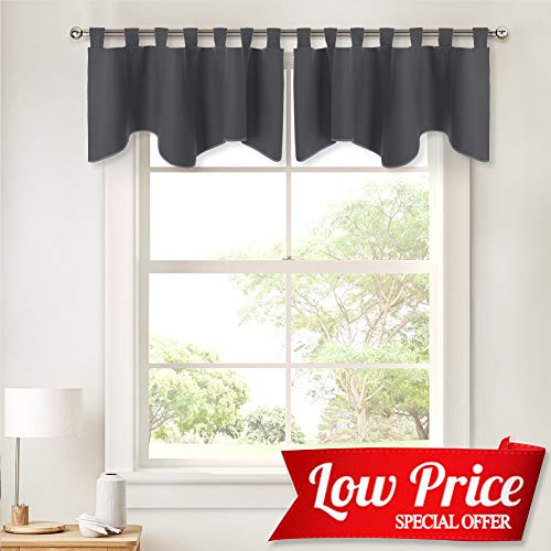 PONY DANCE Grey Window Valances - Short Curtains for Home Decoration Kitchen/Bathroom/Bay Windows, 52 x 18 inches, Grey, 2 Pieces (Bay Treatments Window Window Valances)