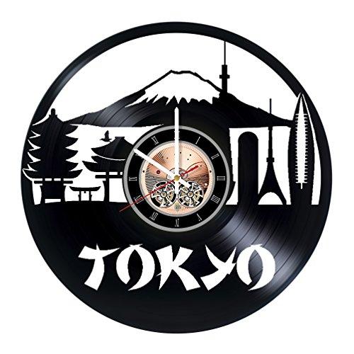 Tokyo Vinyl Record Wall Clock - Home Room wall decor - Gift ideas for parents, men and women - City Unique Art Design