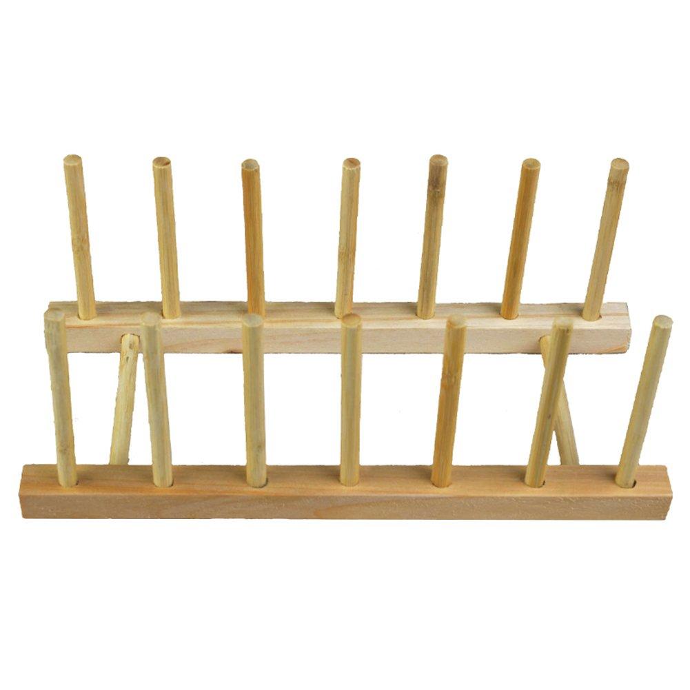 Gracefulvara Wooden Dish Drainer Plate Rack Holder Stand, Plates Drying Storage Kitchen Tool 30x11.5x10.5CM