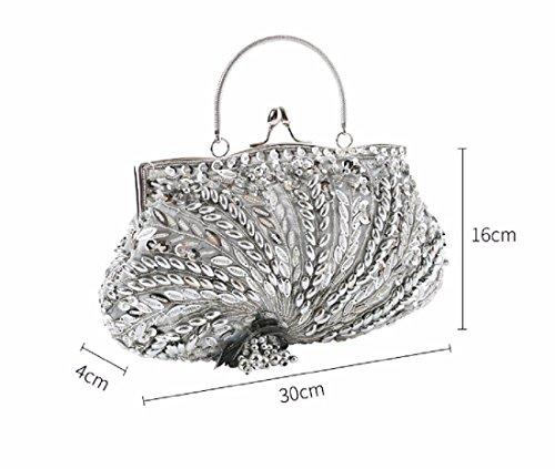 Bag Champagne Handbag Ladies Bag ricamata Borsa Bride Dress Xjtnlb nero Evening Classic qwTttxFp
