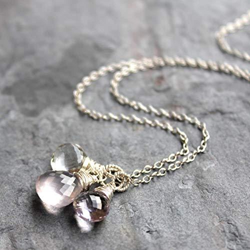 Gemstone Multi 18 - Rose Quartz Multi Gemstone Necklace Sterling Silver Pendant Trio Pink Amethyst 18 Inch