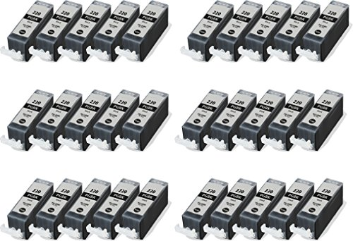 30/Pack PGI-220 Canon Black ink cartridges Compatible wit...