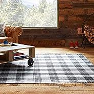 Amazon Brand – Stone & Beam Casual Plaid Area Rug, 5 x 8 Foot, Flatweave, Black, Grey, W