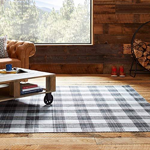 stone beam casual plaid rug 5 39 x 8 39 flatweave black gray white kitchen dining. Black Bedroom Furniture Sets. Home Design Ideas
