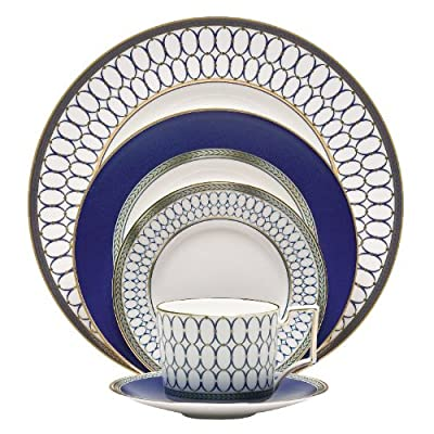 "Wedgwood 5C10210222 5 Piece Place Setting, Renaissance Gold - Renaissance Gold by Wedgwood Includes 10.75"" Dinner Plate, 8"" Salad Plate, 6"" Bread & Butter Plate, Teacup and Saucer. Gold Banded Fine Bone China - kitchen-tabletop, kitchen-dining-room, dinnerware-sets - 51dG6g2cDyL. SS400  -"