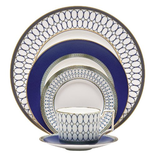 - Wedgwood 5C10210222 5 Piece Place Setting, Blue/Gold/Yellow/White