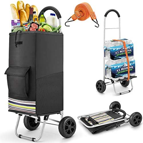 Shopping Cart, Super Loading Grocery Cart 220 lbs Capacity Grocery Shopping Foldable Cart with Extra Large Black Shopping Bag Portable Grocery Cart with Adjustable Bungee Cord