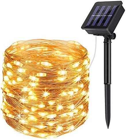 heepop Solar Powered String Lights, 200 LED Copper Wire Fairy Lights 72ft Waterproof Solar Decoration Lights Indoor Outdoor Garden Dancing, Party Warm White