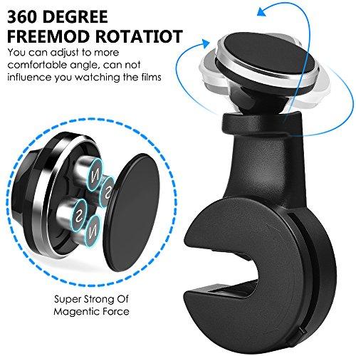 Magnético coche montar titular del teléfono celular gancho para asiento trasero apoyacabezas, 2 paquete de 360 grados rotación universal organizador para smartphone iPad Tablet GPS y E-Reader - negro