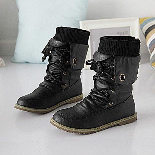 Minetom Chaussure Escarpins En Chaussures Bottines Style Pom Cuir Martin Plat De Noir Confortables Automne Bf Plates Mode Hiver Bottes rqvSfr4w