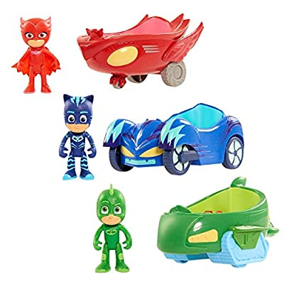 "PJ Masks' Catboy, Owlette and GEkko with Their Ultimate Hero Vehicle,3"" Tall and with Pose-able Arms and Legs, Perfect Gift for PJ Masks Fans from PJ Masks"