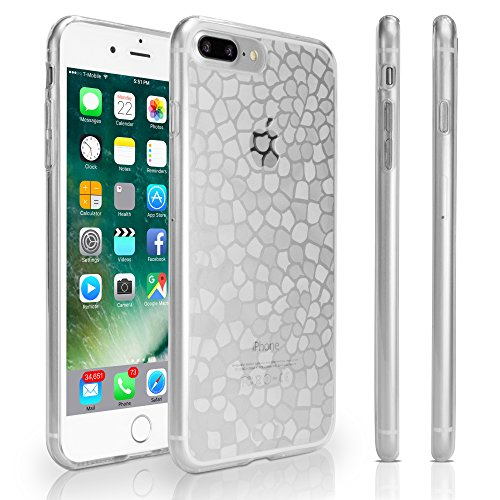 Clear Frosted Mosaic (Apple iPhone 7 Plus Case, BoxWave [LuxePave Case with BONUS Keychain Charger] TPU Cover with Shiny Mosaic Design for Apple iPhone 7 Plus - Frosted Clear)