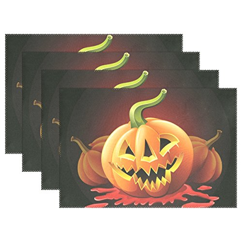 WIHVE Placemats Wipeable Dining Halloween Jack O'lantern Table Mat Rectangle Polyester Washable Insulation Non-slip Kitchen Placemat Set of (Diy Halloween Placemats)