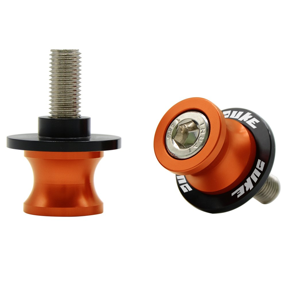 2pcs 10MM Motorcycle Swing arm Sliders Spools CNC Swing Arm Stand Screw for KTM Duke 125 200 390 (Orange)