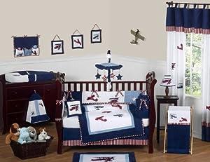 Red White And Blue Vintage Aviator Airplane Plane Baby Boy Bedding 9 Pc Crib Set By Jojo Designs from Sweet Jojo Designs