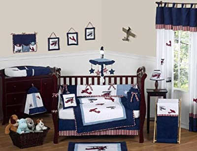 Red White And Blue Vintage Aviator Airplane Plane Baby Boy Bedding 9 Pc Crib Set By Jojo Designs from Sweet Jojo Designs