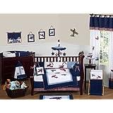 Sweet Jojo Designs Red, White and Blue Vintage Aviator Airplane Plane Baby Boy Bedding 9 pc Crib Set