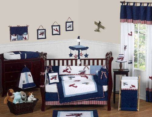 Sweet Jojo Designs 9-Piece Red, White and Blue Vintage Aviator Airplane Plane Baby Boy Bedding Crib Set ()