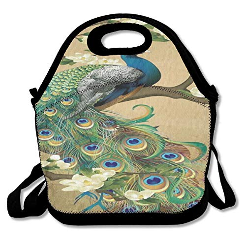 - Bstract Art Needlepoints Peacock Bird Lunch Bag Custom Bento Box Picnic Cooler Bag Lunch Tote Bag For Women Men