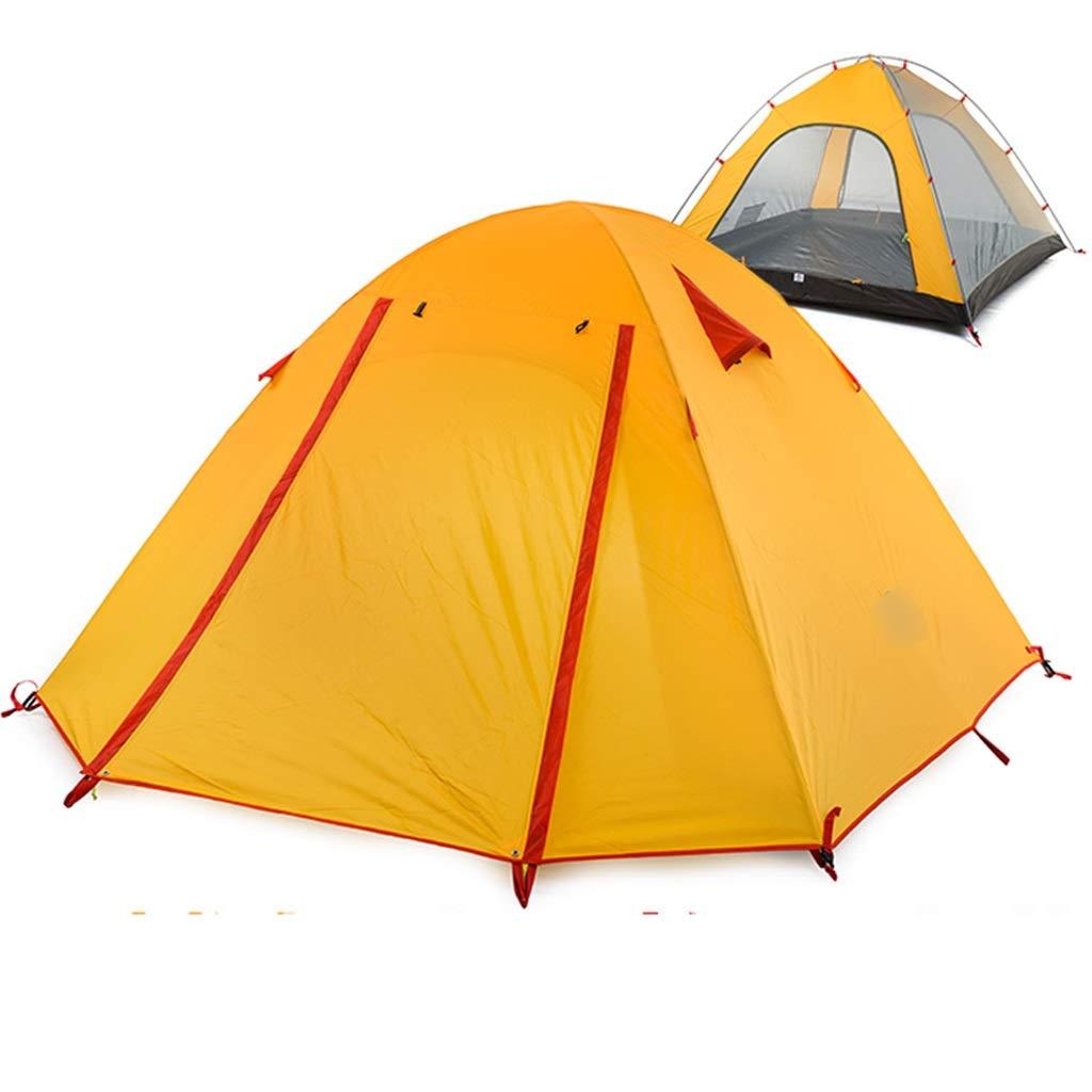 YaNanHome Zelt im Freien Zelt regenfest 3-4 Personen Zelt Aluminiumstange Winddicht wasserdicht Camping Zelt Multi-Farbe optional (Farbe   Orange, Größe   210  210  130cm)