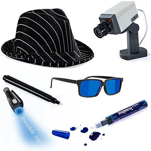 Spy Child Costumes Kit (Detective Costume - 5 Pc. Spy Costume - Spy Costume Accessories by Tigerdoe)