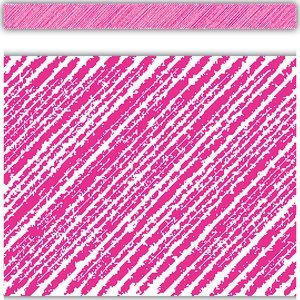 Teacher Created Resources Hot Pink Scribble Straight Border Trim (Hot Pink Border)