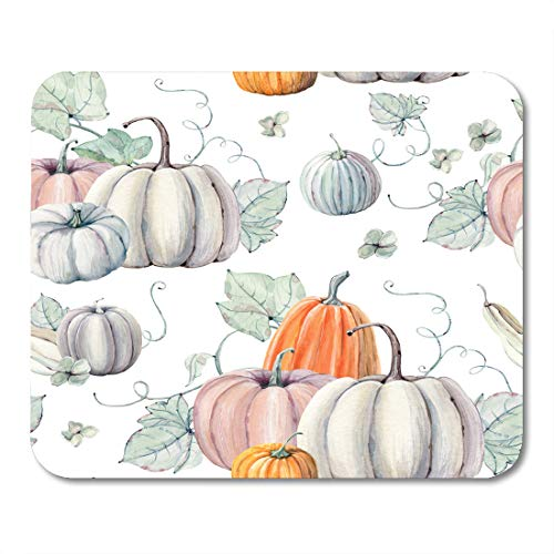 Emvency Mouse Pads Pattern Watercolor Pumpkins It is Thanksgiving Halloween Recipe Fall Harvest Mouse pad 9.5