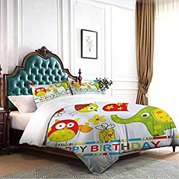 Image of dsdsgog Bedroom Three-Piece Bedding Kids Birthday,Ladybug Wings Flower Inspired Heart Shaped Celebration Balloons,Red Black and White 90x104 inch Hypoallergenic Home and Kitchen