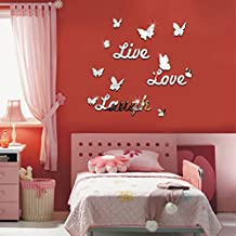 Chinatera DIY Mirror Butterfly Live Love Laugh Wall Sticker Home Decor Art Decal