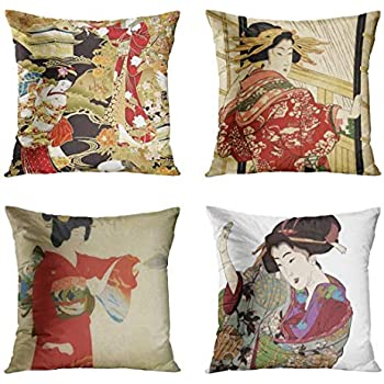 ArtSocket Set of 4 Throw Pillow Covers Asian Japanese Geisha World Fabrics Cherry Blossom Crane Patterns Woman Hikeyotsu No Decorative Pillow Cases Home Decor Square 18x18 Inches Pillowcases