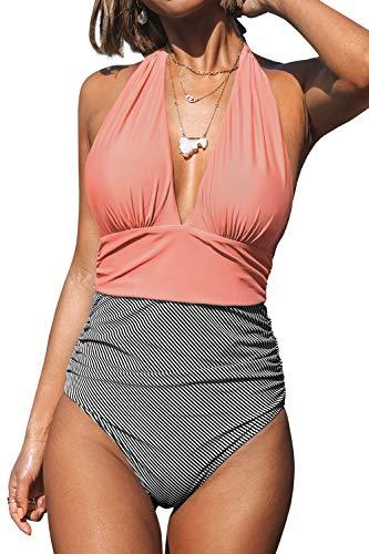 CUPSHE Damen Badeanzug Neckholder V-Ausschnitt Raffung Bauchweg Einteiliger Bademode Swimsuit