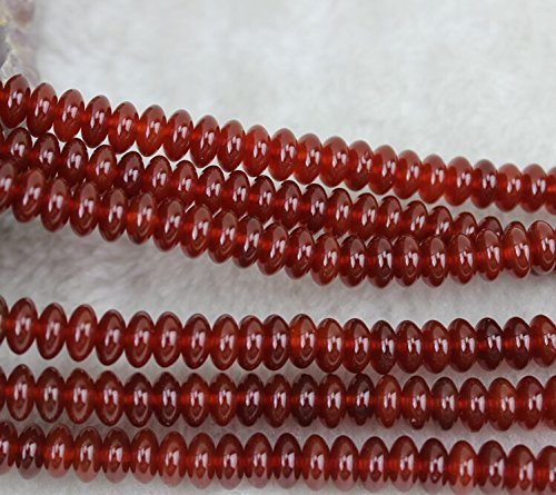 4x8mm Rondelle Red Agate Carnelian Beads Semi Precious Gemstone Beads for Jewelry Making Strand 15 Inch (88-92pcs) (38 Oxide Finish Iron)