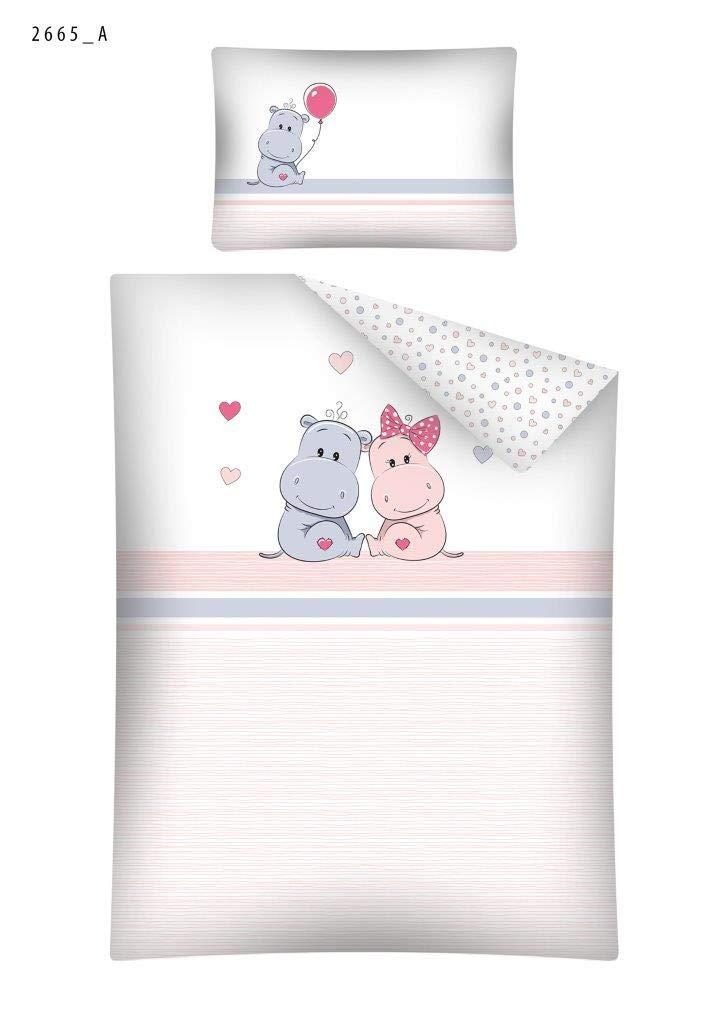 Parure de lit Bébé Hippo Rose Housse de Couette (100x135cm) + Taie (40x60cm) 100% Coton Detex