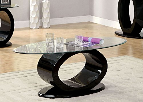 Lodia III Black Glass/Wood Coffee Table by Furniture of ()