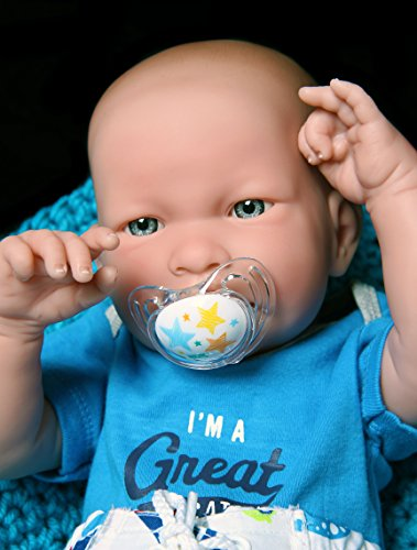 """Handsome Cute Baby Doll so Realistic with Blue Eyes Reborn boy Anatomically Correct Washable Berenguer Realistic 17"""" inches Real Soft Vinyl Lifelike Pacifier with Beautiful Accessories"""