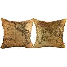 """Luxbon- World Map Pattern Cotton Linen Throw Pillow Cases Cushion Covers 18 x 18""""/45X45CM Insert Not Included, Set of 2"""