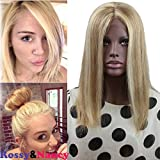 613 27 4 lace front wig - Rossy&Nancy Best Brazilian Human Hair #27/613 Highlight Blonde Color Free Part Silk Straight Full Lace Bob Wigs for Woman with Baby Hair 12inch