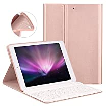Keyboard Case for New iPad 2017 9.7 / iPad Air/iPad Air 2 - GOOJODOQ [Upgrade] Soft TPU Back Stand Cover[Viewing Angle Adjustable]+Magnetically Detachable Wireless Bluetooth V3.0 Keyboard