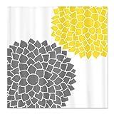 CafePress Zen Flowers gray yellow Shower Curtain - Standard White