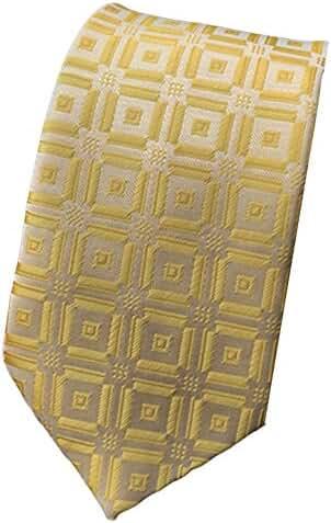 MENDENG Classic Checks Golden Yellow 100% Silk Men Tie Business Wedding Necktie