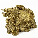 Feng Shui Brass Dragon Tortoise with Coin Statue Figurine W Fengshuisale Red String Bracelet M4078
