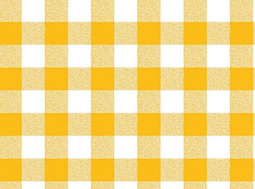 Qute Home 55 x 95-inch Rectangle Tablecloth | Checkered Yellow Vinyl Dining Table Cover (Seats 6-8 People) ()