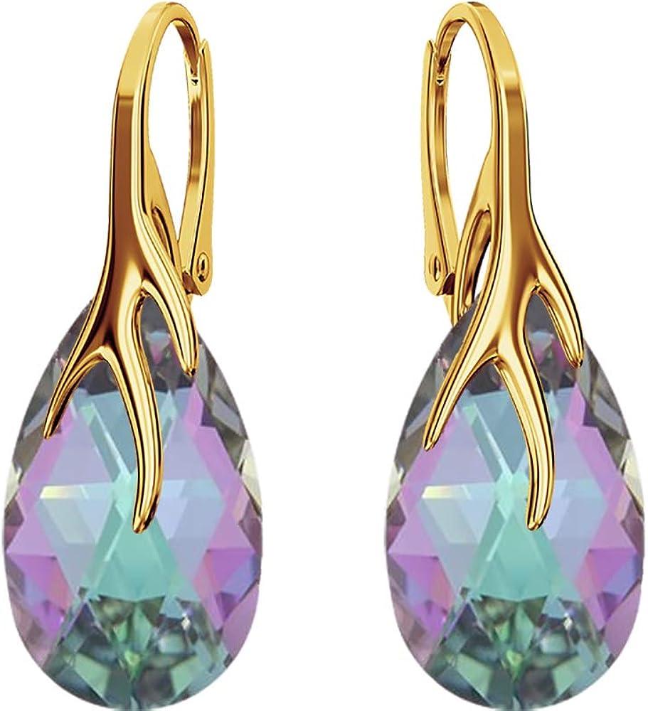 Crystals & Stones Plata 925/chapado en oro 24 K * almendra * * Colores variantes * Preciosos pendientes para mujer plata 925 – con cristales de Swarovski – Fantásticos pendientes con caja de regal