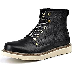 Men's Boots Short-Boots High-Top Leather Lace-Up Simple Approach-hiking Mountaineering Outdoor Shoes Casual HXZ-ZS16205