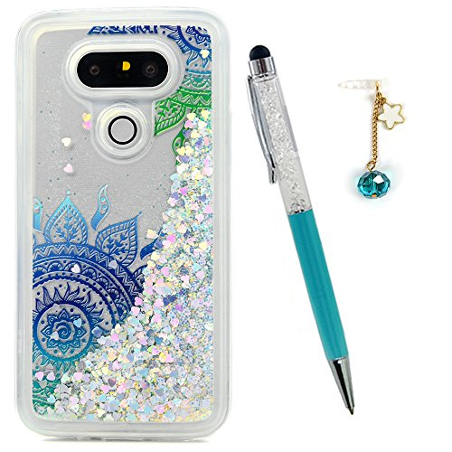 LG G5 Case, Liquid Glitter Case Bling Sparkle Shiny Flowing Moving Love Heart Cover Clear Ultral Slim Protective TPU Bumper for LG G5 with Stylus Pen Plug Dust ZSTVIVA- Green Blue Mandala Totem Flower -